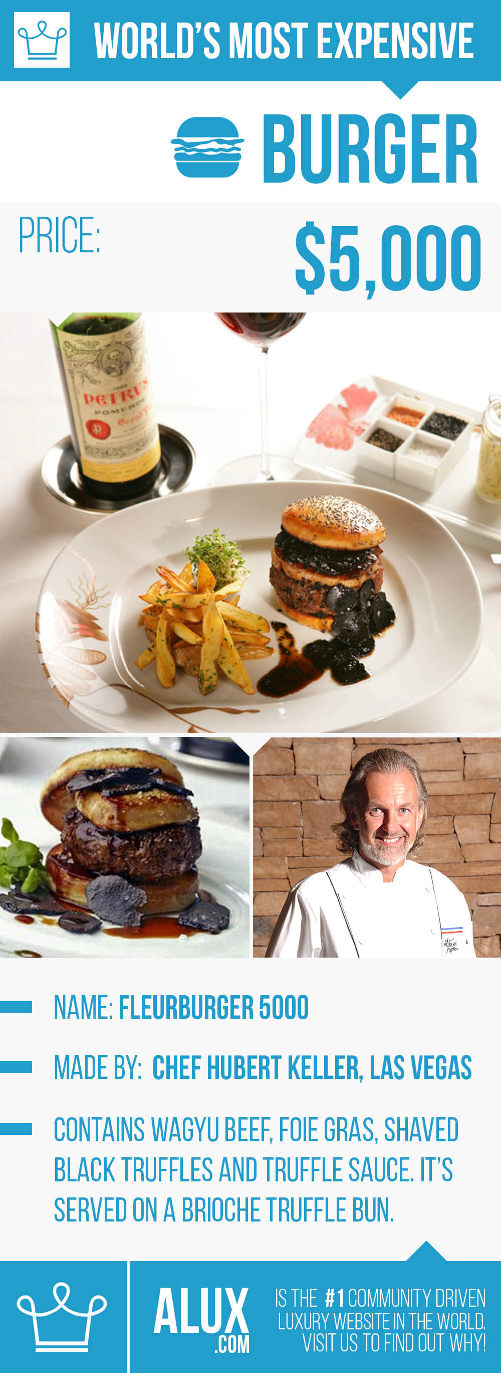 most expensive burger hamburger in the world fleurburger 5000 fleur las vegas truffle price images infographic alux