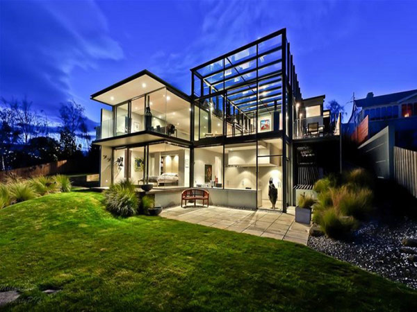 Really cool glass houses for Cool two story houses