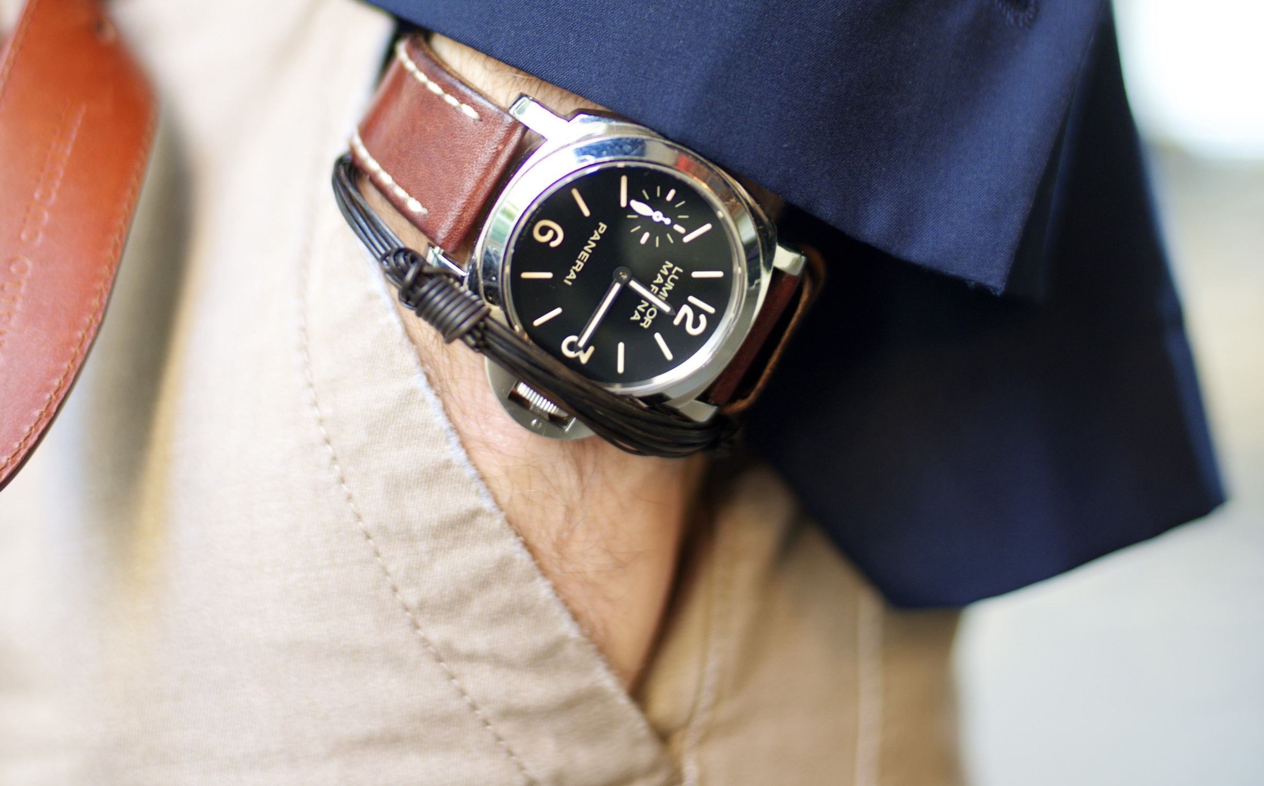 s watch panerai black leather dial men radiomir watches brown