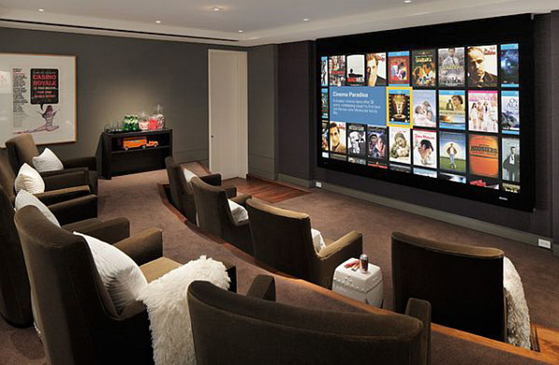 basement home theater design ideas for your modern home. Black Bedroom Furniture Sets. Home Design Ideas