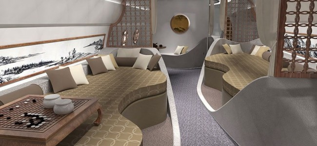 Private Boeing Business Jet Cabin Gets a Feng Shui Touch