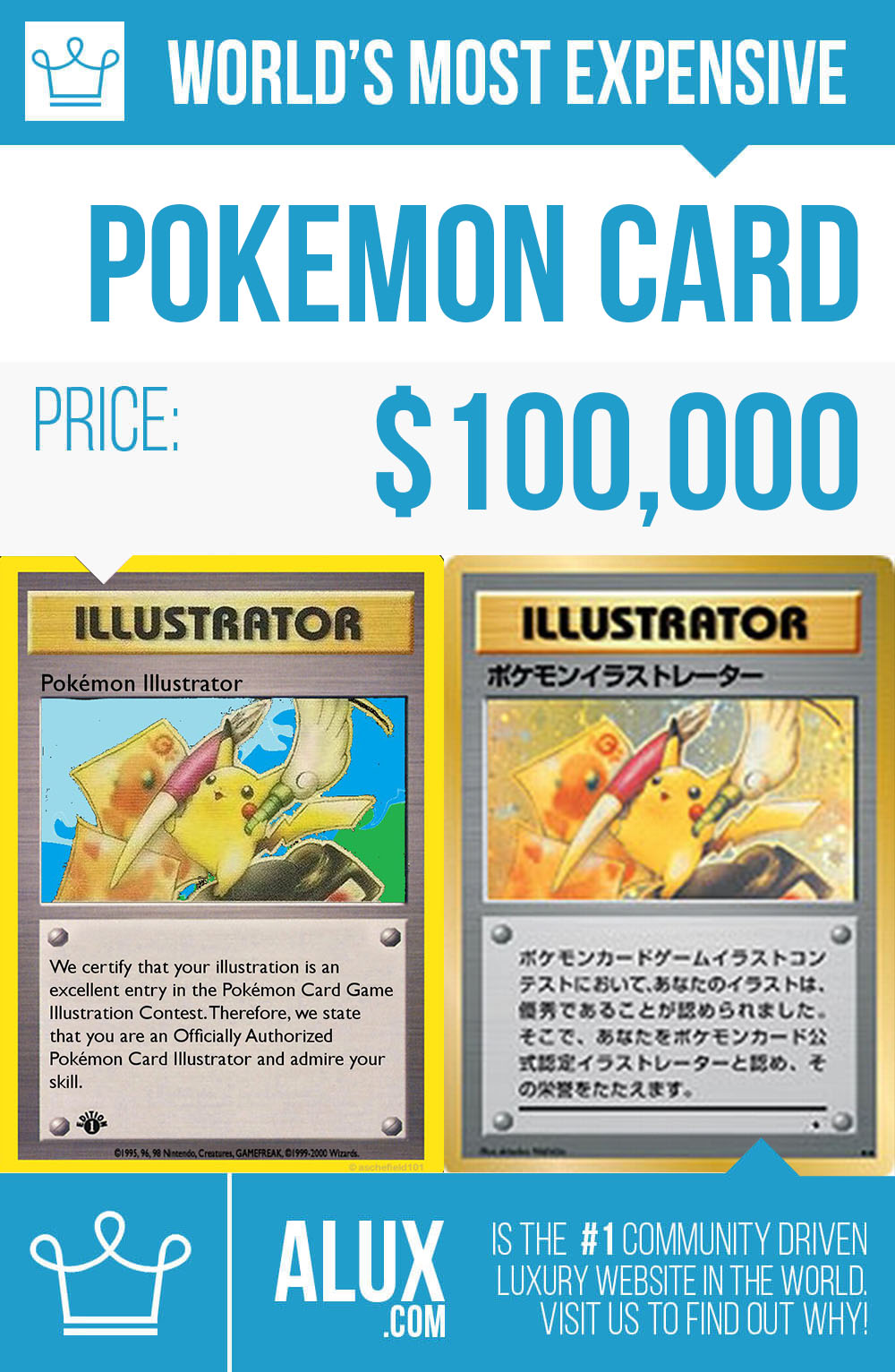 Most Expensive Rims In The World >> most expensive pokemon card in the world price by alux infographic image picture - Alux.com