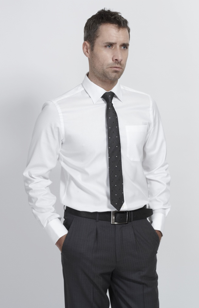 White Plain Business Dress Shirt For Men