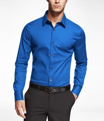 AMALFI BLUE 1MX EXTRA SLIM FIT FRENCH CUFF SHIRT
