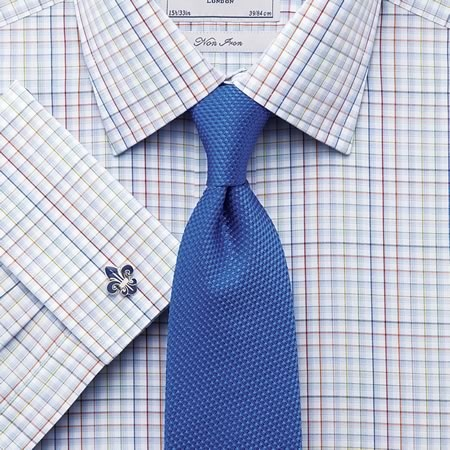 Charles Trywhitt--Multi-color grid check classic collar shirt
