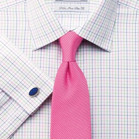 Charles Trywhitt--Pink-green-navy check classic collar shirt