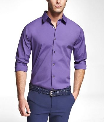 PURPLE EXTRA SLIM FIT 1MX STRETCH COTTON SHIRT