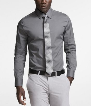 STEEL GRAY EXTRA SLIM FIT 1MX STRETCH COTTON SHIRT
