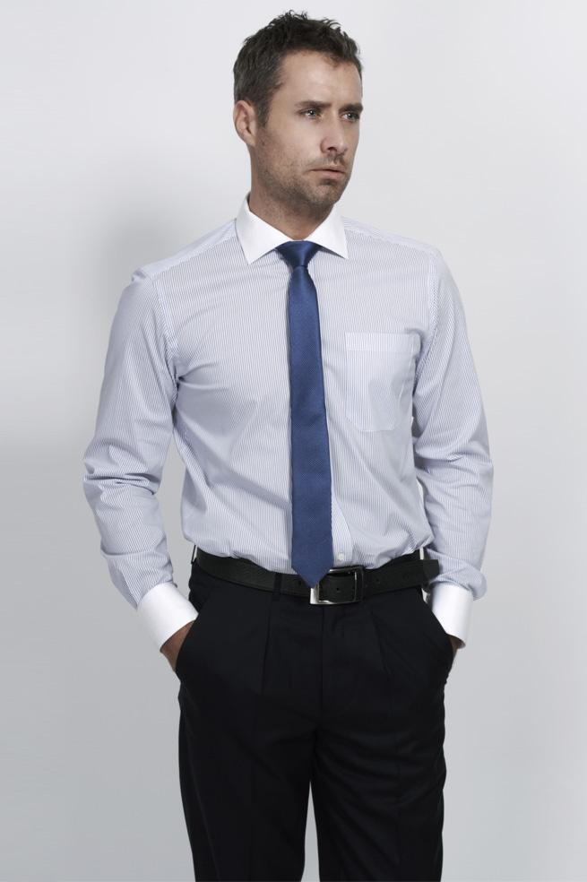 e4214d6144 Solid Light Blue Custom Shirt For Men. White Collar Blue Business Dress ...