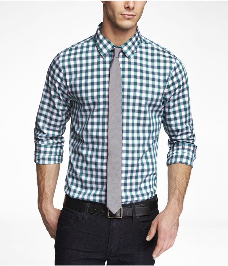 blue plaid dress shirt, gray tie, black jeans, black belt