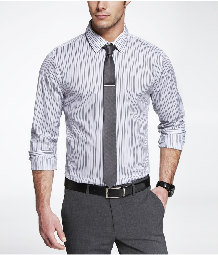 gray striped dress shirt, gray tie, gray pants, black belt