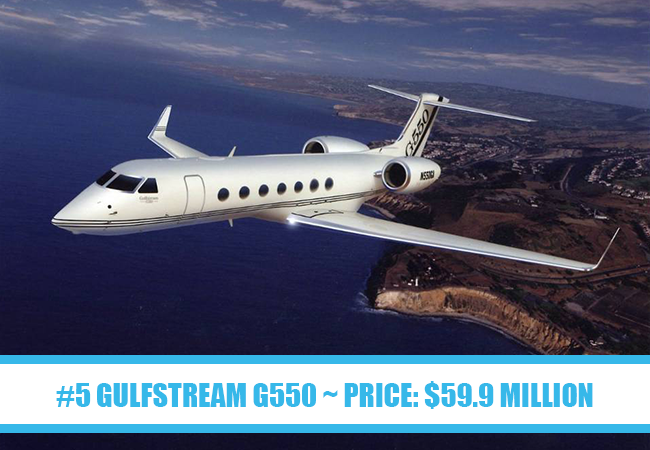 World's Most Expensive Private Jets: #5 Gulfstream G550 ~ Price: $59.9 million