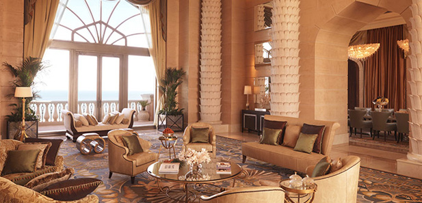 Comfortable seating in the Royal Bridge Suite, Atlantis The Palm, Dubai