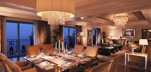 Dining and seating area in our Presidential Suites, Atlantis The Palm, Dubai