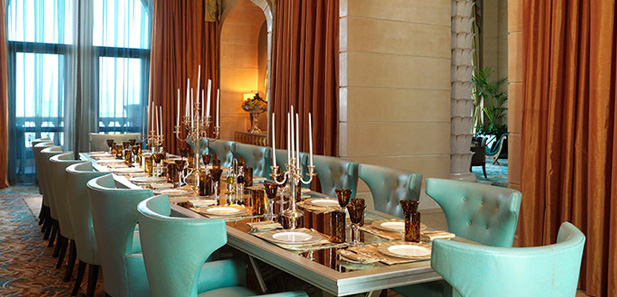 Dining for 16 in the Royal Bridge Suite, Atlantis The Palm, Dubai