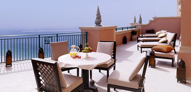 The balcony at the Royal Bridge Suite, Atlantis The Palm, Dubai