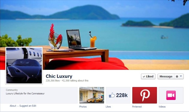 Most Luxurious Facebook Pages: Chic Luxury
