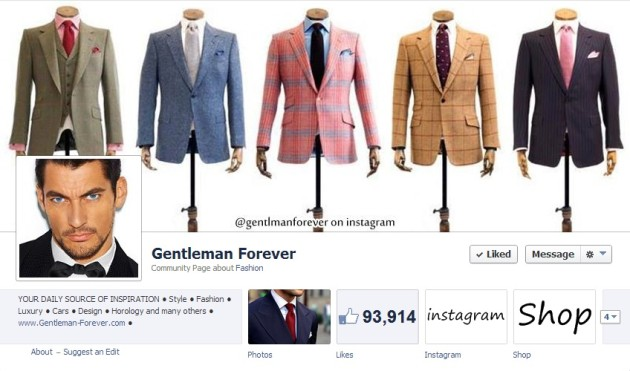 Most Luxurious Facebook Pages: Gentleman Forever