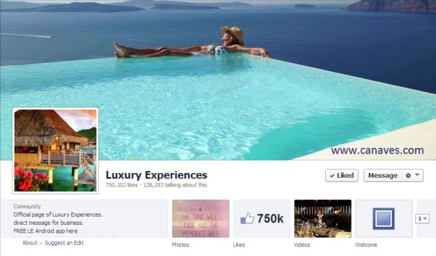 Most Luxurious Facebook Pages: Luxury Experiences
