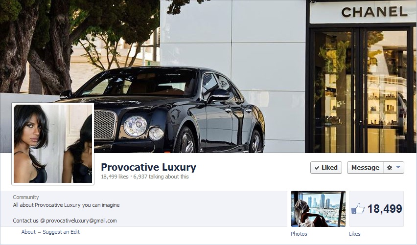 Most Luxurious Facebook Pages: Provocative Luxury