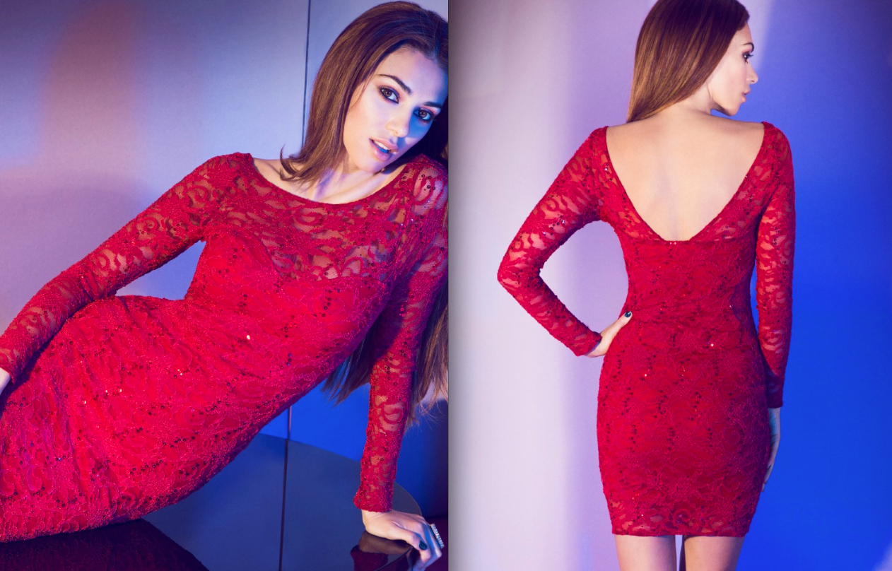 red lace New Year Eve Outfits Ideas 2015-2016