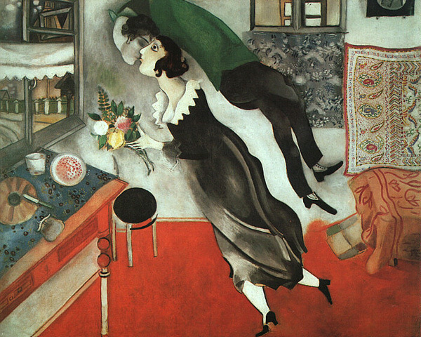 Most Famous Kissing Art Pieces: Marc Chagall - The Birthday - 1915
