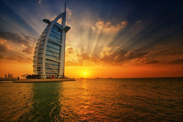 "The Burj Al Arab "" The Tower of Arabs "" at Sunset"