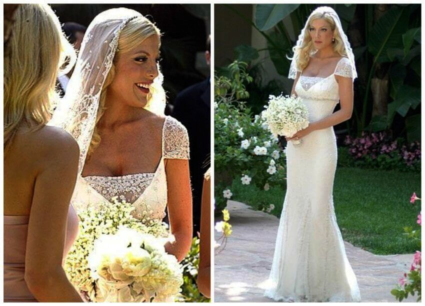 Top 10 Celebrities Most Expensive Wedding Dresses | The flapper-esque inspired wedding dress looks gorgeous on Tori Spelling.