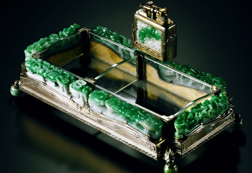 Most Expensive Lighter in the World - EALUXE.COM | Silver and Jadeite Ashtray and Lighter