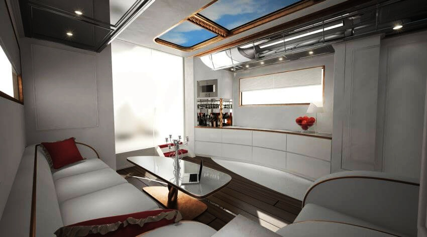Most Expensive Motor Home in the World: eleMMent Palazzo | Enjoy a glass of wine while surfing the Internet.