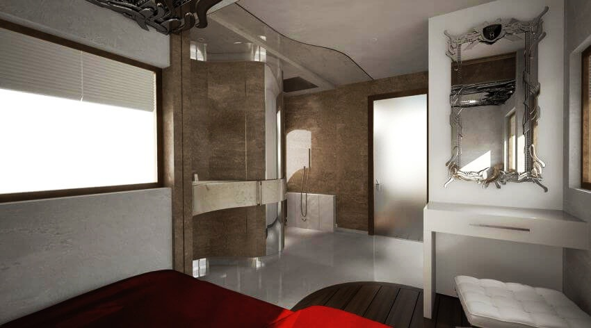 Most Expensive Motor Home in the World: eleMMent Palazzo | The master bedroom with a Wellness bathroom.