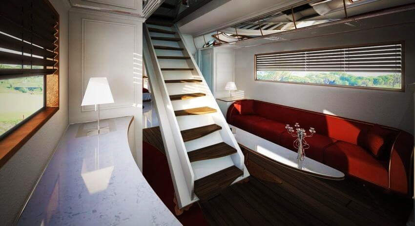 Most Expensive Motor Home in the World: eleMMent Palazzo | After relaxing on that red couch, it's time to go on the rooftop terrace and relax more.