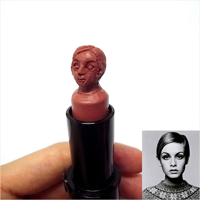 Lipstick Sculptures of Fashion Icon Celebrities  Twiggy