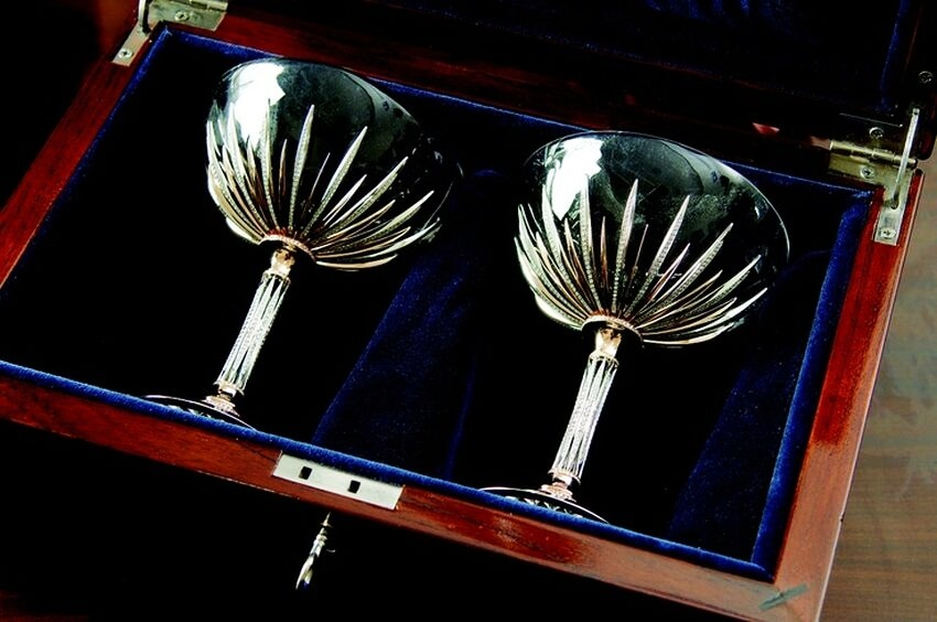 Most Expensive Champagne Glasses in the World | The Diamond and Crystal Champagne Glasses waiting for a splash of French champagne.