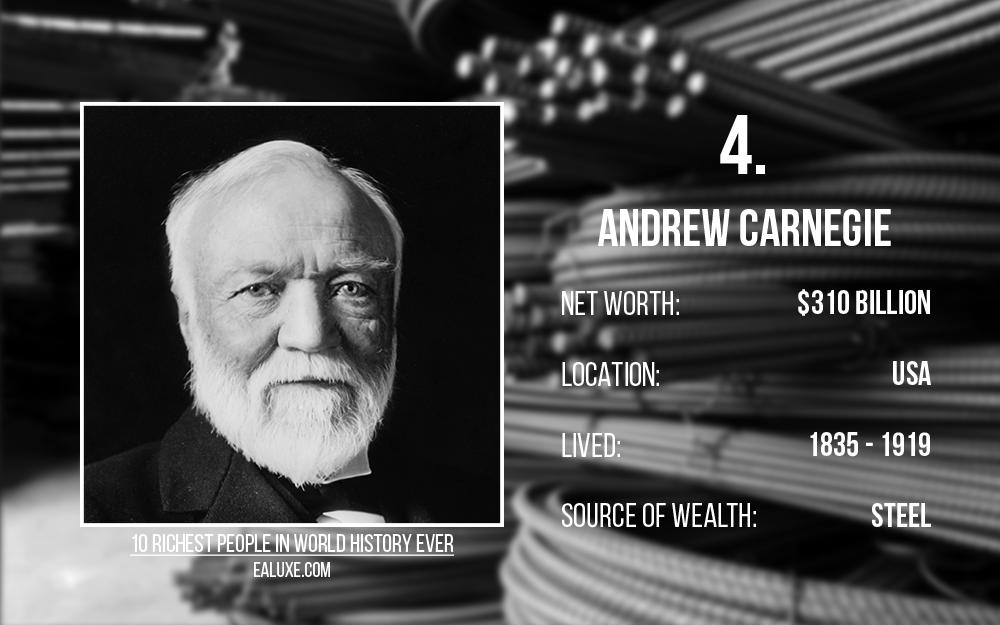 10 richest people in world history to ever live with most money ealuxe Andrew Carnegie – Net Worth