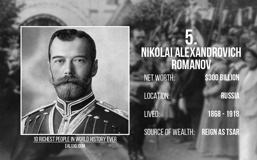 10 richest people in world history to ever live with most money ealuxe Nikolai Alexandrovich Romanov – Net Worth