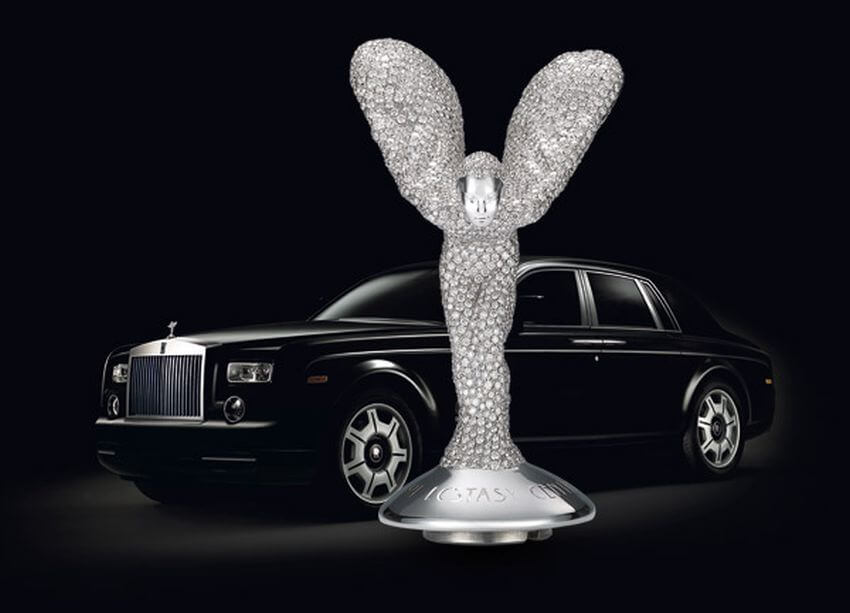 Most Expensive Hood Ornament in the World | The Spirit of Ecstasy is completely coated in 150 carats of high-quality diamonds.