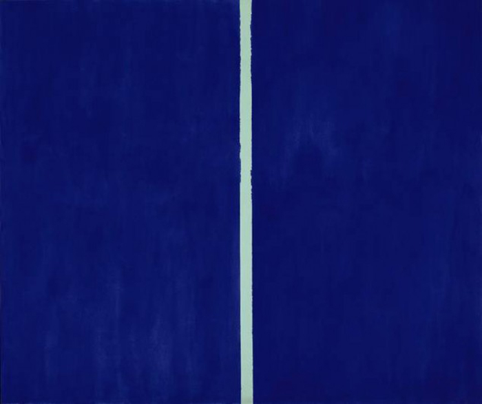 $44 Million Blue canvas with a White Stroke 44 Million dolar painting is just blue with a white line Onement-VI-by-Barnett-Newman (1)
