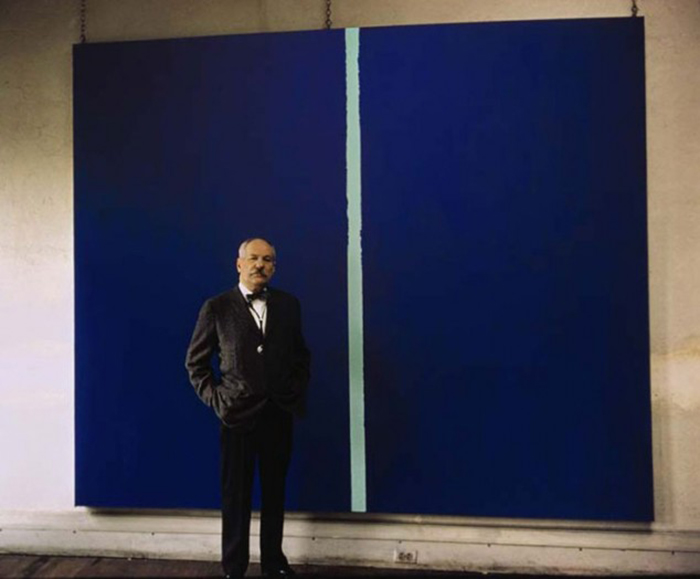 $44 Million Blue canvas with a White Stroke 44 Million dolar painting is just blue with a white line Onement-VI-by-Barnett-Newman (4)