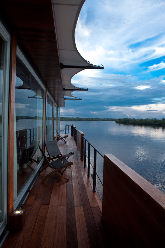 Every suit comes with its own balcony and the views are amazing! luxury riverboat amazon river adventure