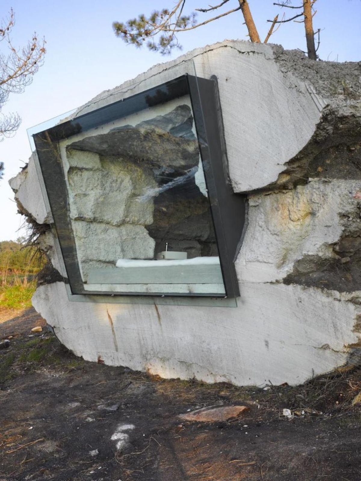 Check out this awesome home built into a giant rock for Cost to build a house in little rock
