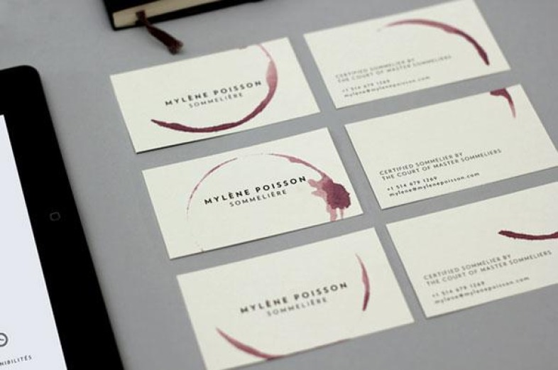 Crazy Designs for the Business Cards Sommelière Wineglass Business Card