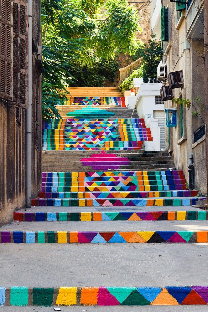 Stairs Turned Into Amazing Piece of Art Stairs of Peace in Syria