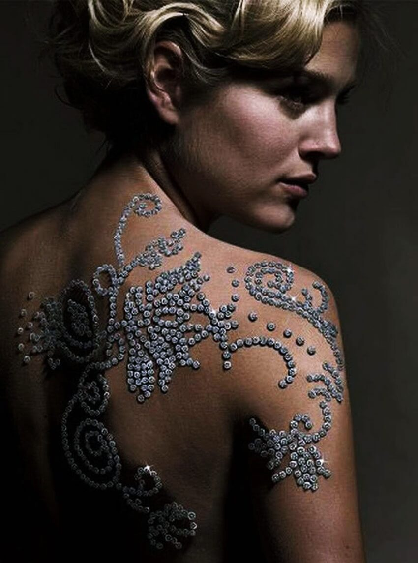Most Expensive Tattoo in the World | Minki van der Westhuizen was the perfect model to bear the diamond tattoo.