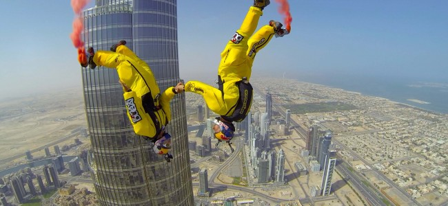 2 Crazy Dudes Base Jump Off World's Tallest Building