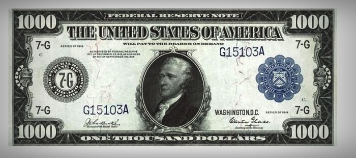 Most Expensive Bills Wanted By Collectors  Top 10 10. 1918 Alexander Hamilton $1000 Banknote - $8.000