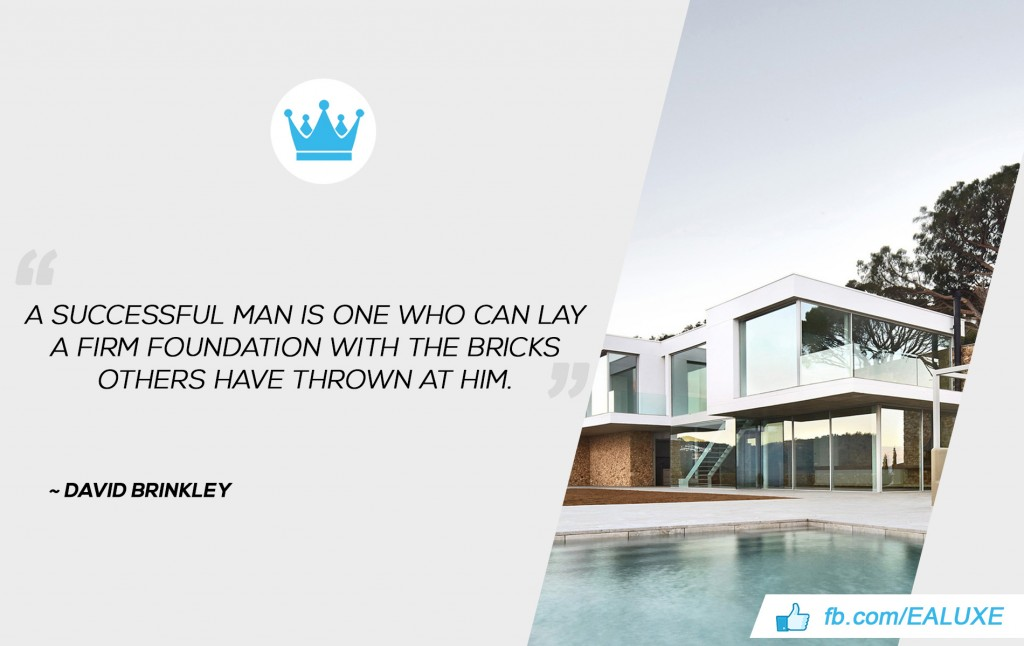 """A successful man is one who can lay a firm foundation with the bricks others have thrown at him.""  David Brinkley"