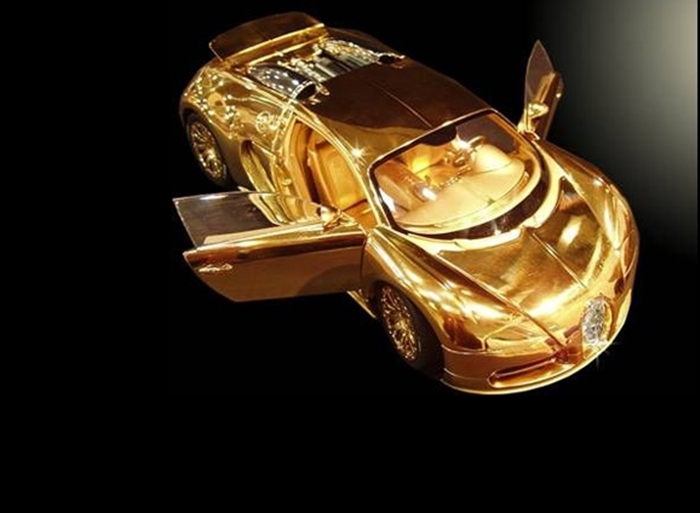 Top 10 World's Most Expensive Things Made Of Gold  6. Bugatti Veyron Diamond Ltd - $4 Million