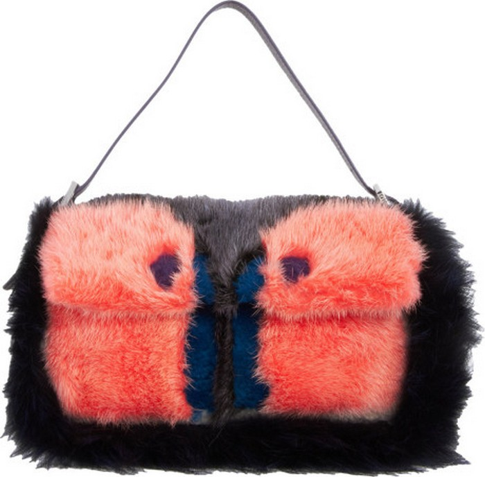 9.Fendi Mixed-Fur Monster Baguette Shoulder Bag – Iron - Price:$7,200 | Most Expensive Fendi Products