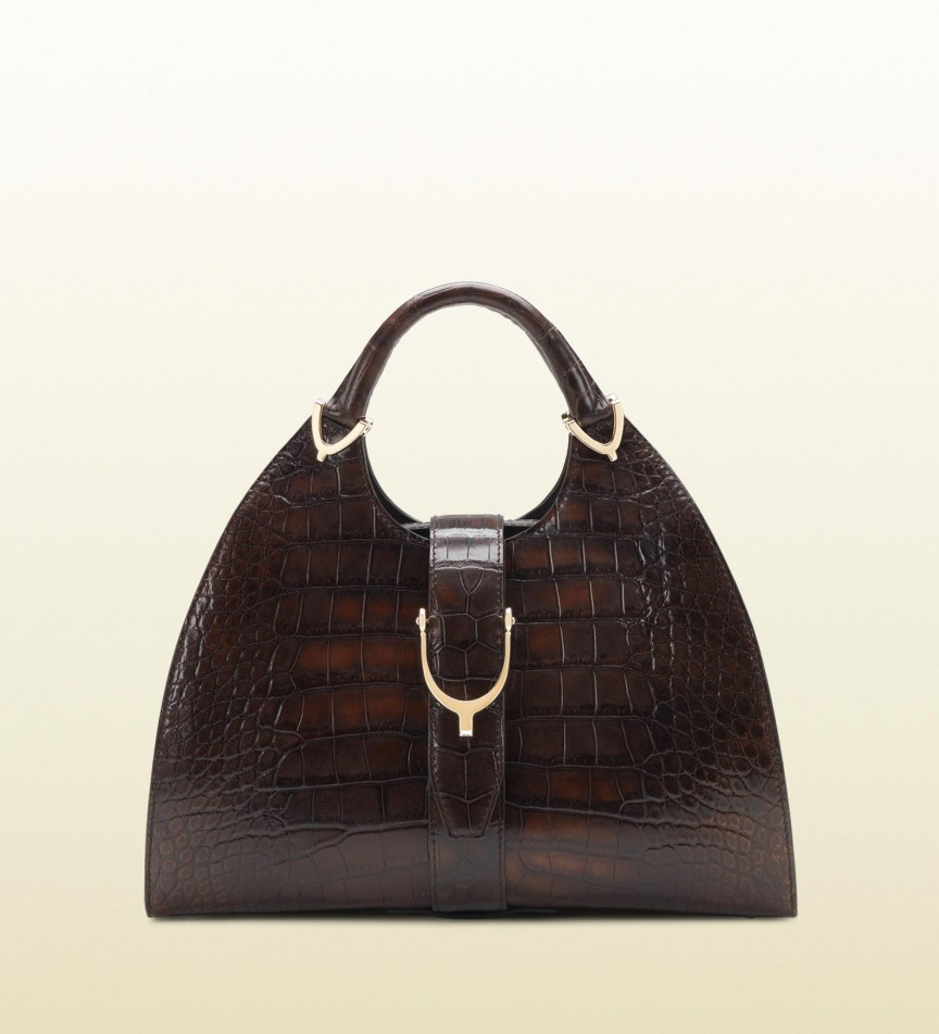 The Most Expensive Gucci Handbags - Stirrup Brown Crocodile Top Handle Handbag